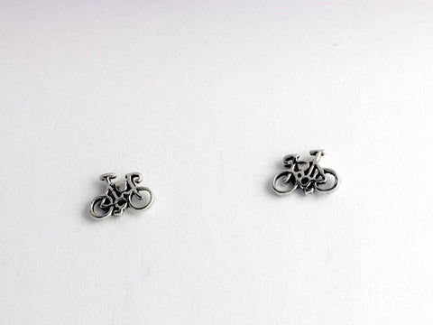 Sterling Silver and  surgical steel Bicycle stud earrings-Bike- 10 speed-bikes