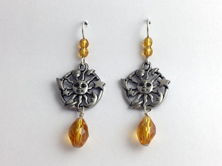 Pewter & Sterling Silver Sun, moon, planet & stars dangle earrings-celestial,sky