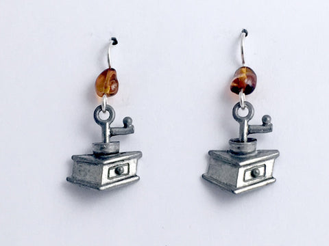 Pewter & sterling silver old style coffee grinder dangle earrings- espresso,
