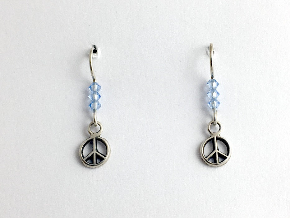 Sterling silver tiny  raised peace sign dangle earrings- world, signs, peaceful