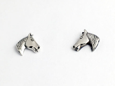 Sterling Silver & Surgical Steel horse head stud earrings-pony, equine ,equus