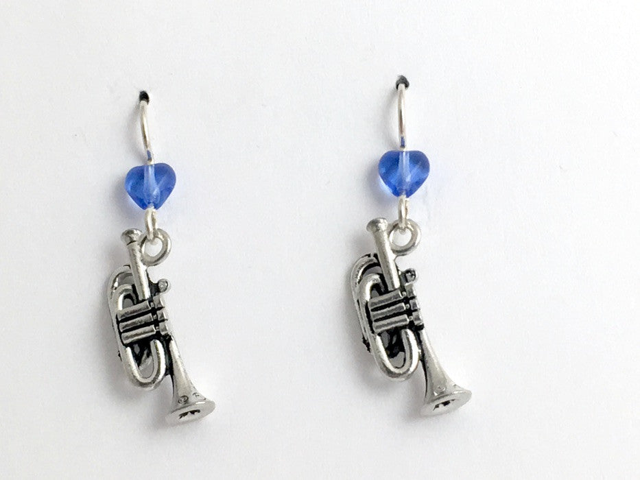Pewter & sterling silver trumpet dangle earrings-music, trumpets band, musician
