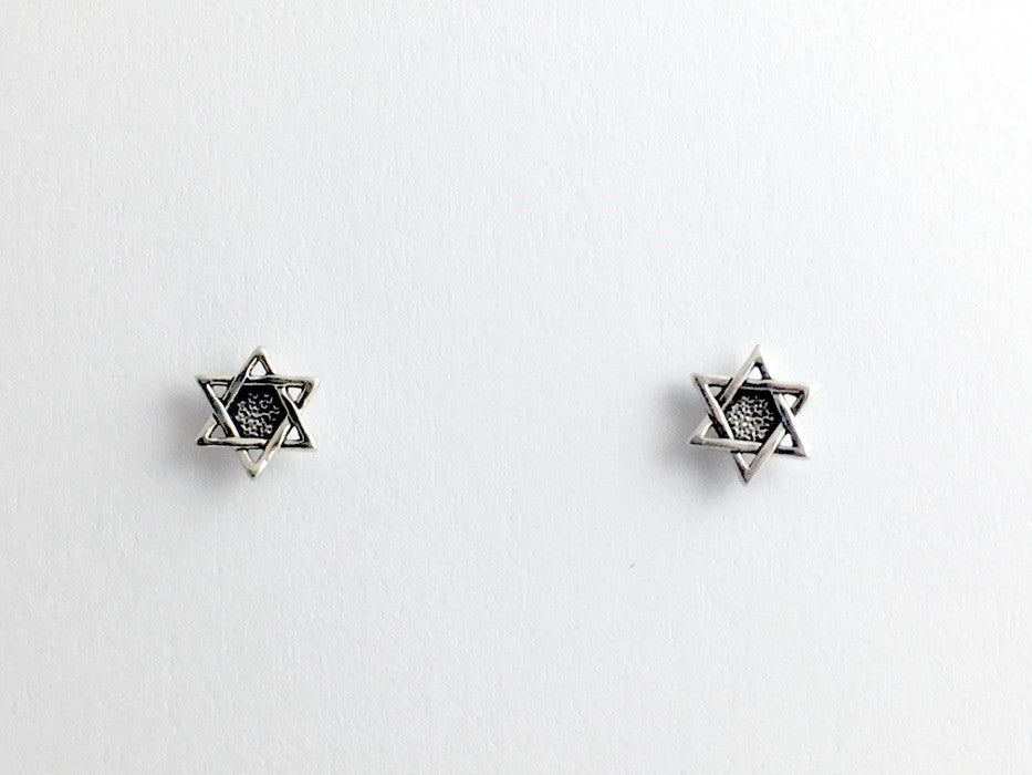 Sterling Silver & Surgical Steel Star of David stud earrings- judiaca, jewish