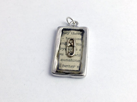 Pewter frame pendant w/ sterling silver safety pin-resin,safe ally-sunshine