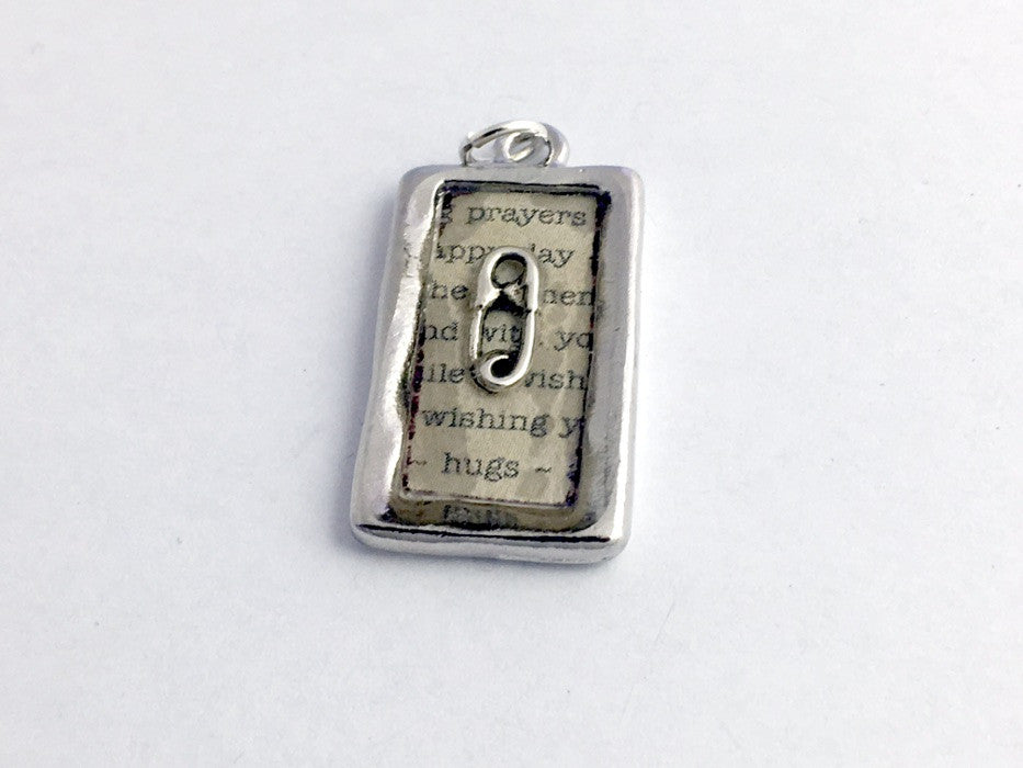 Pewter frame pendant w/ sterling silver safety pin-resin,safe ally-prayers, hugs
