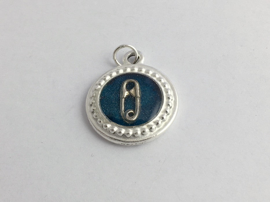 Pewter frame, blue paper, sterling silver safety pin pendant-resin, safe ally