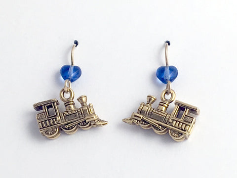 Goldtone Pewter & 14k GF locomotive dangle earrings-train, trains, toy, RR,