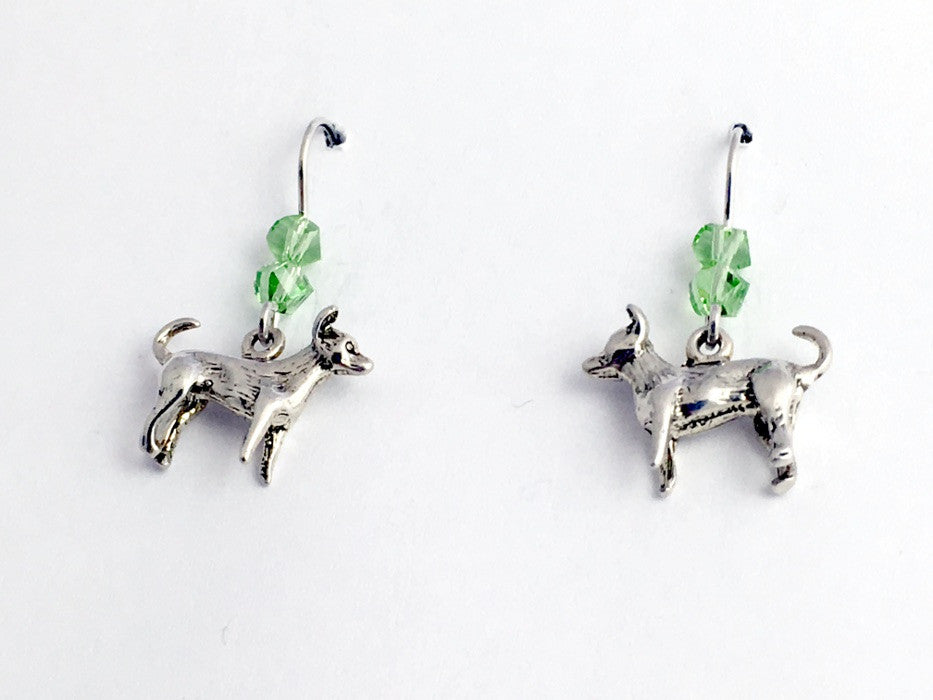 Sterling silver  Chihuahua dog dangle Earrings-chihuahuas,dogs, Crystal, canine