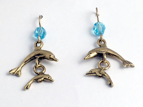 Gold tone Pewter & 14K GF double dolphin dangle  earrings-ocean-dolphins -sea,