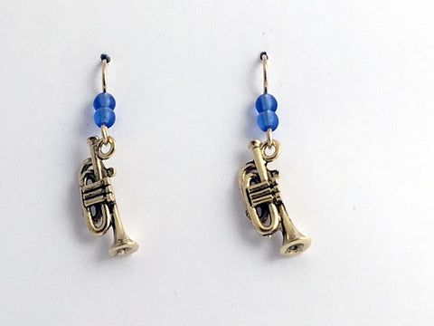 Gold tone Pewter & 14k gold filled trumpet dangle earrings- music,band,trumpets
