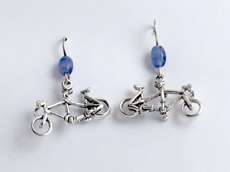 Sterling Silver tandem bicycle dangle earrings-bike, built for two, bicycles