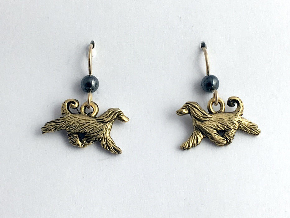 Gold tone pewter & 14k GF Afghan Hound dog dangle earrings-dogs,afghans,hematite