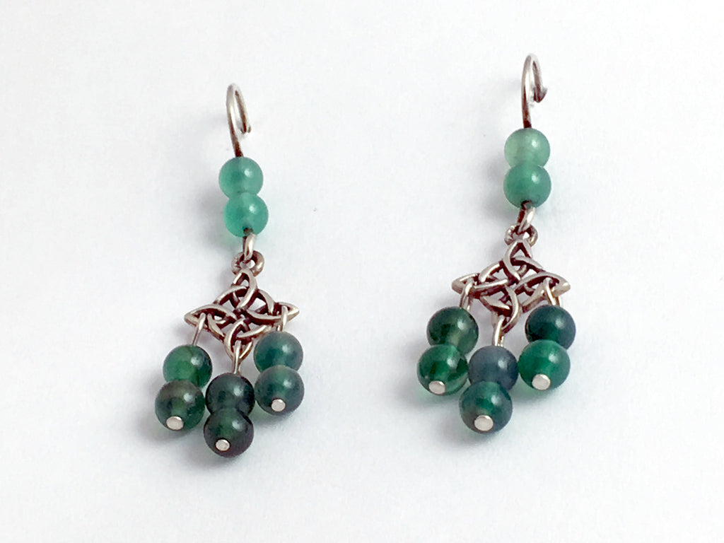 Sterling Silver Celtic Knot dangle Earrings-green agate, knots,cross w/circle