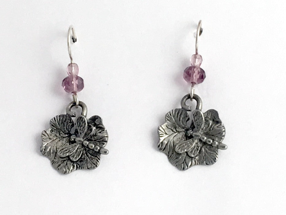 Pewter & sterling silver Dragonfly on leaf dangle earrings, dragonflies, leaves