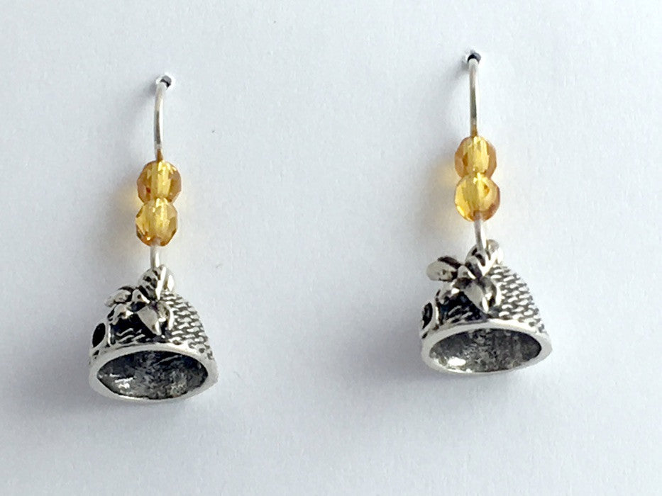 Sterling silver bee skep dangle earrings-bee keeping- honey bees, insects, Apis