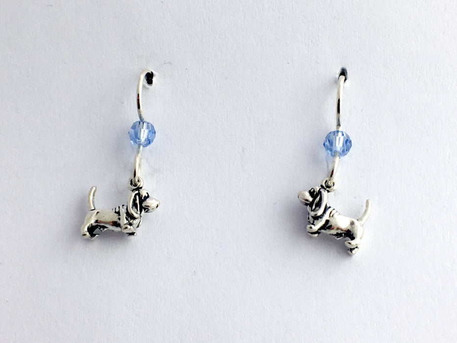 Sterling Silver tiny Basset Hound dog dangle earrings, dogs, Hounds, canine