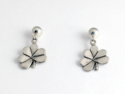 5mm ball stud w/ Sterling Silver medium Shamrock dangle  Earrings- Irish-Celtic