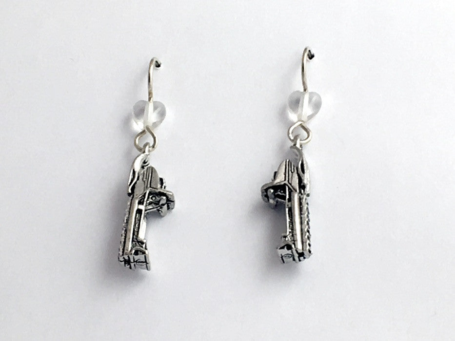 Pewter & sterling silver snowmobile dangle earrings-glass- snow mobile, winter