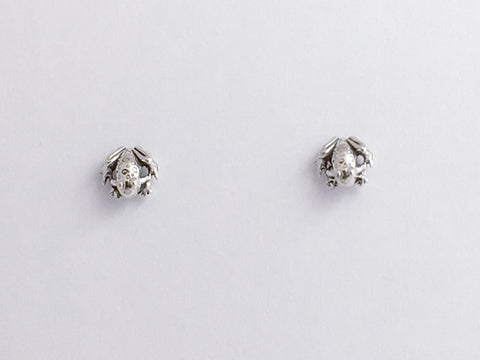 Sterling Silver & Surgical Steel tiny frog or toad stud earrings-amphibians, frogs