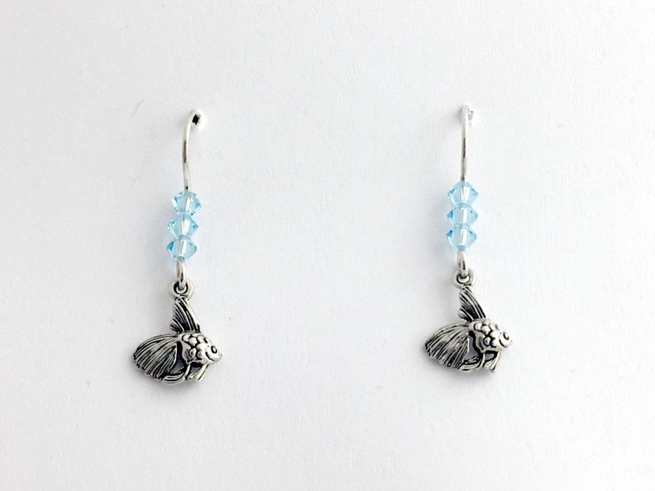 Sterling silver tiny fancy gold fish dangle earrings-lt aqua crystal- tropical
