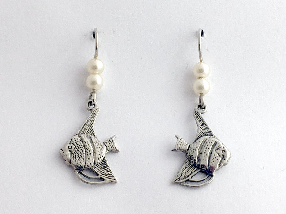 Sterling silver angelfish earrings- ocean, angel fish, tropical, aquarium,