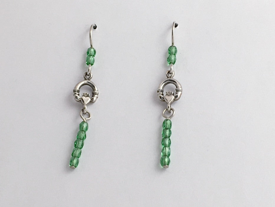 Sterling Silver small Claddagh dangle Earrings-celtic-Irish -green- Ireland-Eire