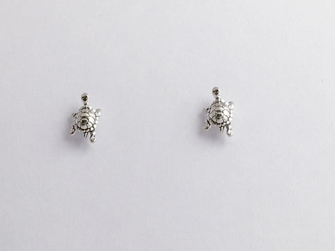 Sterling Silver and Surgical Steel small  turtle stud earrings-turtles, tortoise