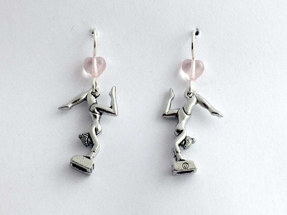 Pewter & Sterling silver Gymnast dangle earrings- Gymnastics, vault, beam