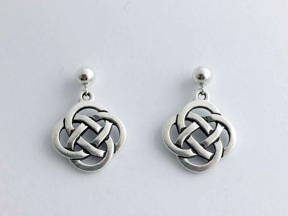 6e9527a07 5mm Sterling Silver ball stud & Pewter Round Celtic Knot Earrings – Jewelia  Designs
