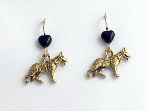Gold tone pewter and 14k gf earwire German Shepherd dog earrings- canine- K-9
