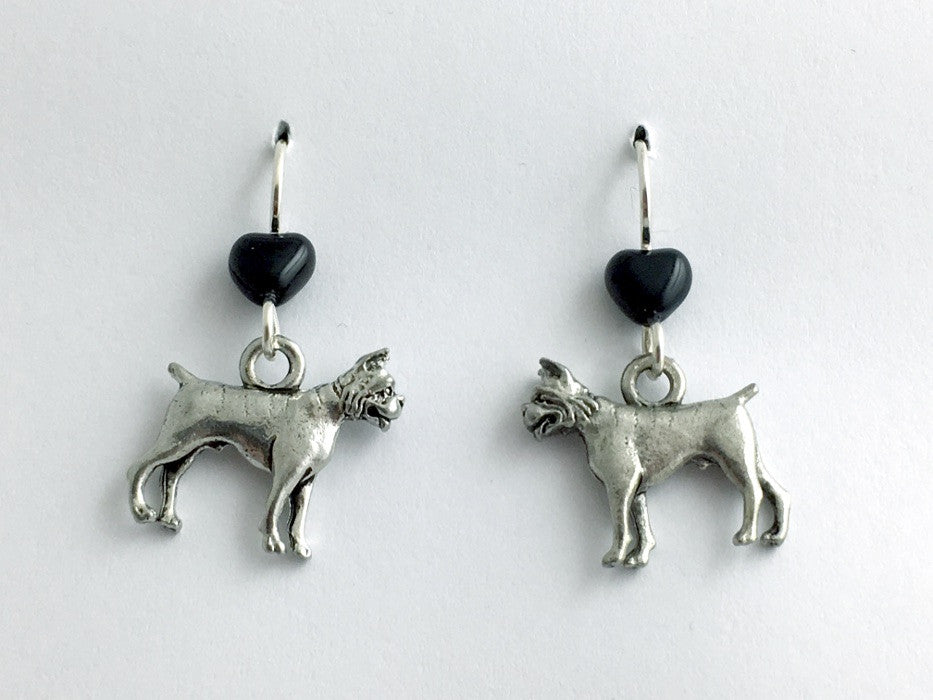 Pewter & sterling silver Boxer dog dangle earrings- full body-boxers,canine,dogs
