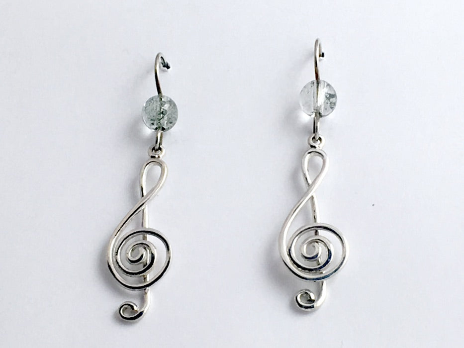 Sterling Silver  Treble Clef w/spiral dangle earrings-music,musician, band, large