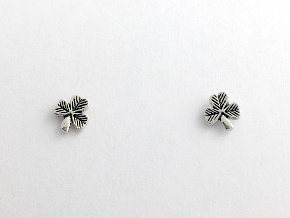Sterling Silver tiny lined shamrock stud earrings-Celtic-shamrocks, 1/4 inch,