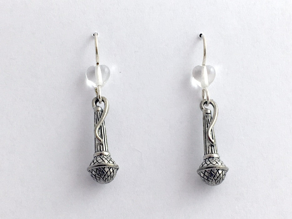 Pewter & sterling silver microphone dangle earring- choir, singer-music, karaoke