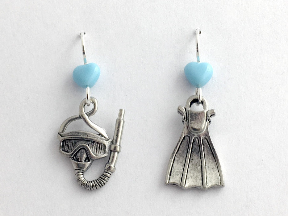 Pewter & Sterling silver Snorkel, Mask & Fin dangle earring- Flippers, Dive, Scuba