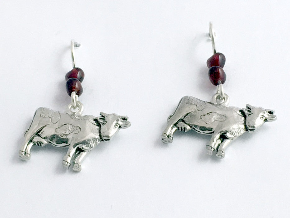 Pewter &  Sterling silver Cow dangle earrings-cows, bovine, cattle, steer, dairy