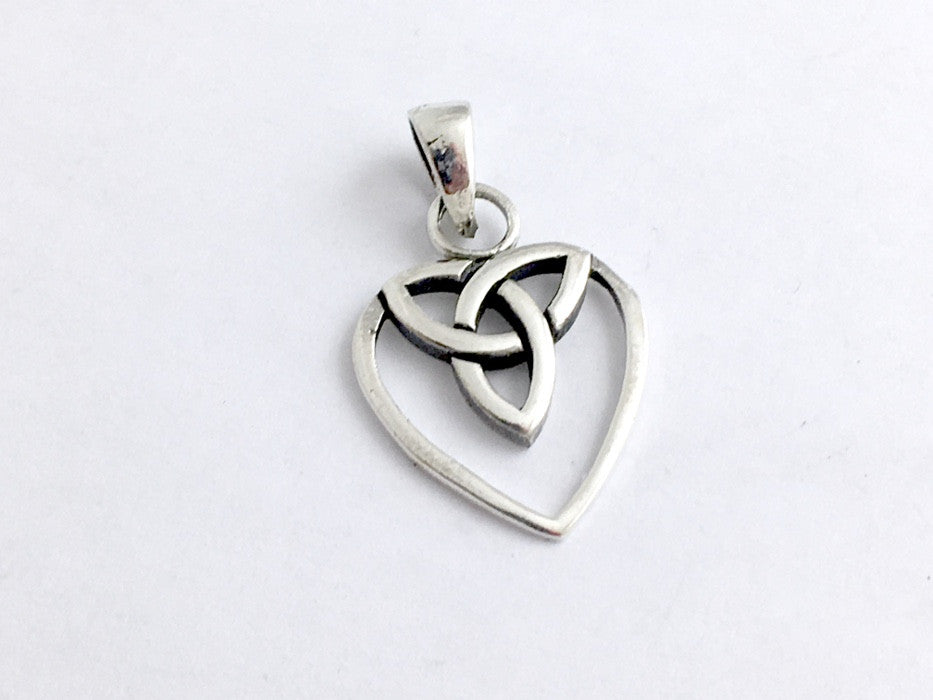 Sterling Silver Celtic Trinity Knot in heart pendant , Triquetra, Knots, love