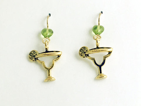 Gold tone Pewter & 14k gf Margarita glass with limes Earrings-drinks, margaritas