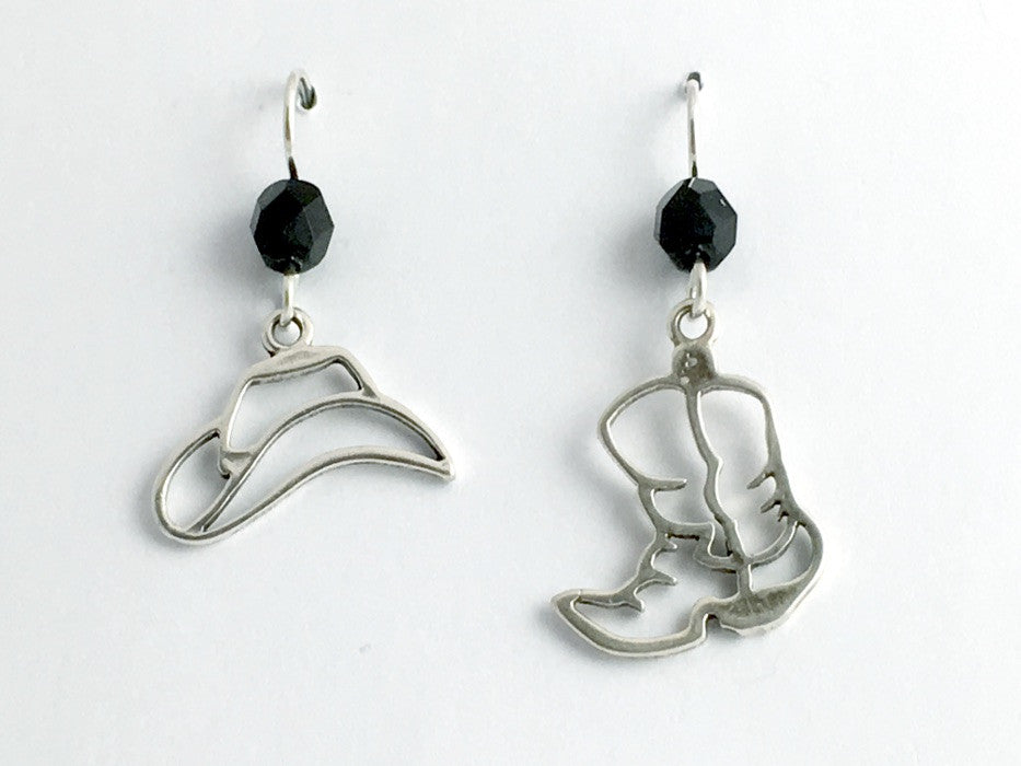 Sterling Silver Open Cowboy hat and boot dangle earrings-horse, cowgirl, boots