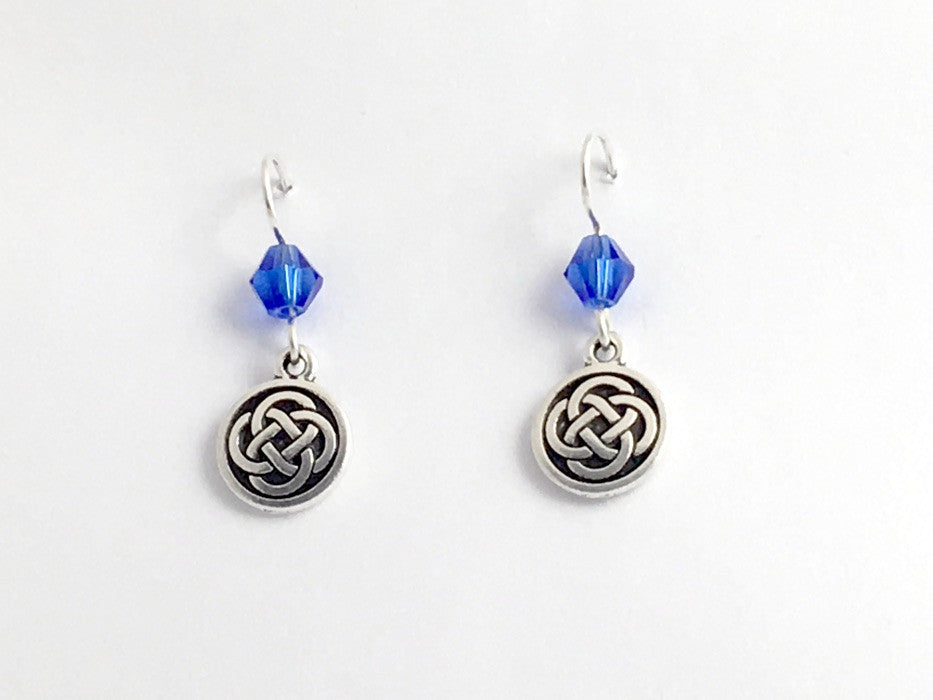 Pewter & Sterling Silver medium Round Celtic Knot dangle Earrings- Blue Glass