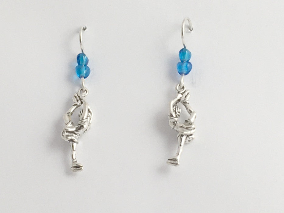 Sterling Silver figure ice skater dangle earrings-skate-skates-Biellmann spin