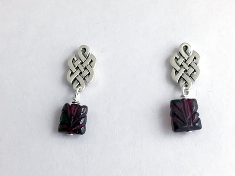 Sterling Silver & surgical steel  Celtic knot stud Earrings- Garnet dangle