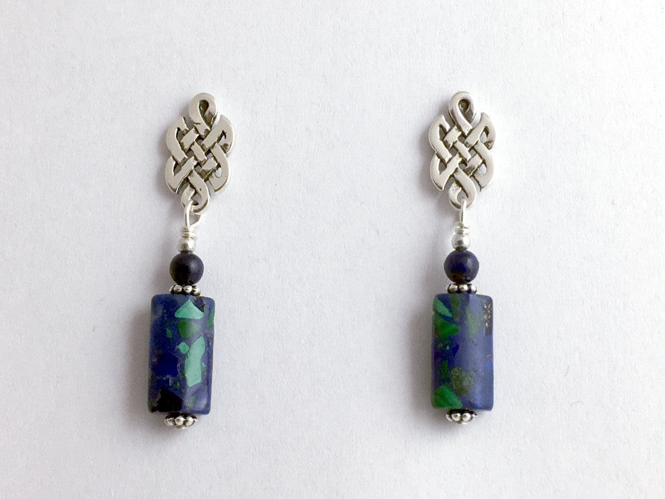 Sterling Silver & surgical steel  Celtic knot stud Earrings- azurite malachite