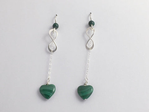 Sterling Silver Infinity symbol with chain and Malachite heart dangle Earrings