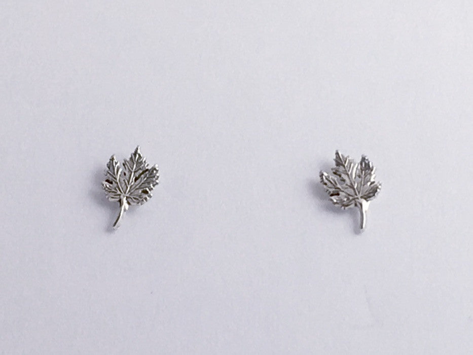 Sterling Silver & Surgical Steel maple leaf stud earrings- Leaves, maples, trees