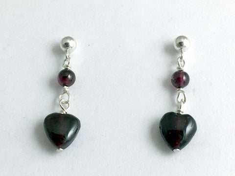 Sterling Silver 4mm ball stud w/ garnet heart dangle earrings-January, Valentine