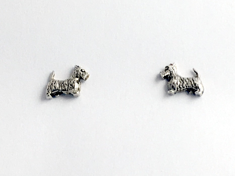 Sterling Silver & Surgical Steel scottish terrier stud earrings-scottie dog-dogs, scotty