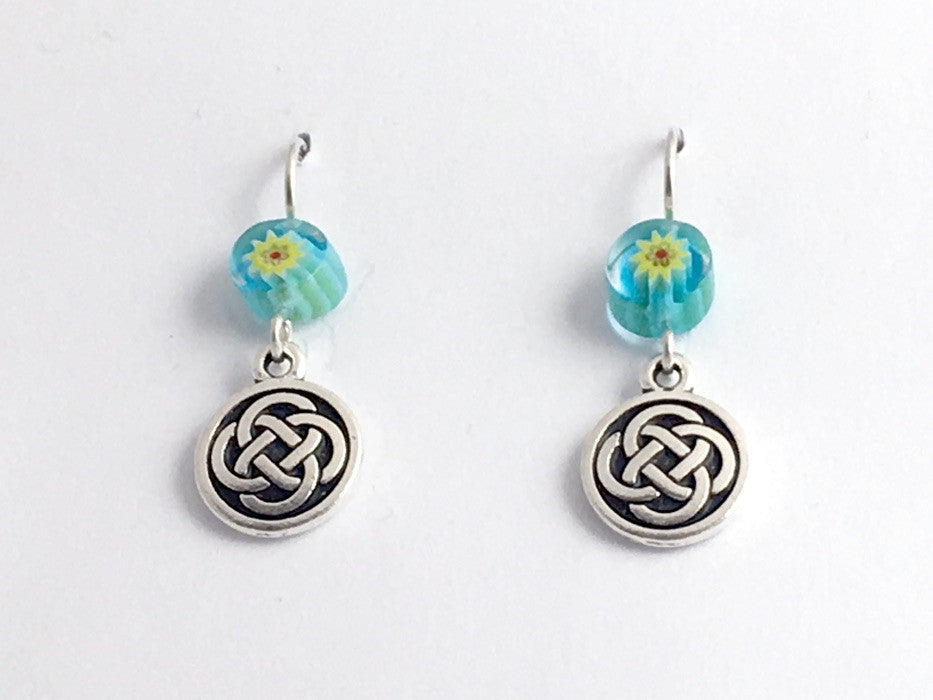 Pewter & Sterling Silver medium Round Celtic Knot dangle Earrings- Millefiori