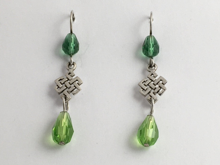 Sterling Silver Celtic knot  dangle Earrings-Tibetan endless,green crystal,knots