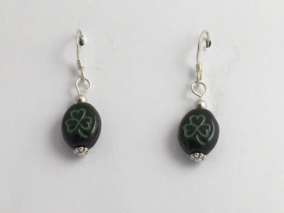 Black and green glass shamrock dangle earrings-St. Patricks Day,sterling silver